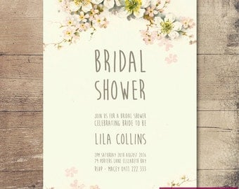 Printable Vintage Floral Bridal Shower Invitation / Customisable Digital File / JPG or PDF /