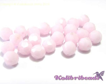 10x Swarovski 5000 Faceted Round Beads 6mm - Rose Alabaster