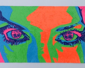 Eye See You - Handmade Duct Tape Painting - Wall Art