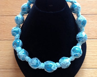 Lace covered bead necklace