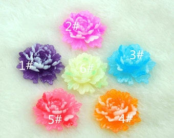Resin Peony Cabs,6 pcs 33x36 mm Resin peony flower Cabochon Pendant Charm craft jewelry ------H0095