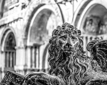 Lion of Saint Mark Print, Venice Lion, Lion Print, Venice Black and White, Winged Lion