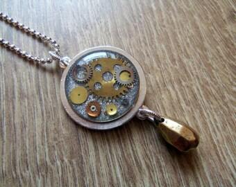Watch Parts Necklace, Cogs Necklace, Steampunk Necklace, Resin Necklace, Nunn Design, Silver