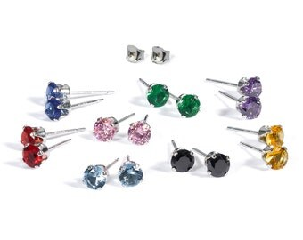 Exciting Sterling Silver 4mm CZ Stud Earrings Set Multi Color
