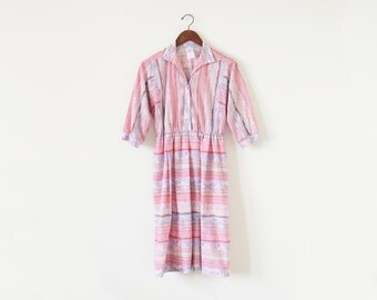 1980s southwestern dress / vintage shirts dress / pink dress