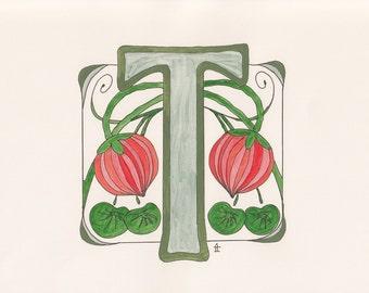 Monogram T - Art Deco Style