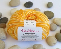 Cotton yarn - VARIEGATED YELLOW- 100% mercerized cotton yarn for knitting and crochet by Unitas - 50g/142m - Color number 501