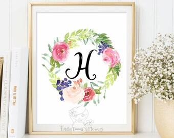 flower nursery initials nursery letter monogram art printable calligraphy monogram nursery print nursery monogram floral monogram initial