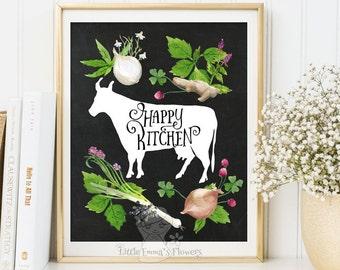 Happy Kitchen art print typographic kitchen decor print Printable kitchen wall art home decor wall art kitchen art instant download 3-4