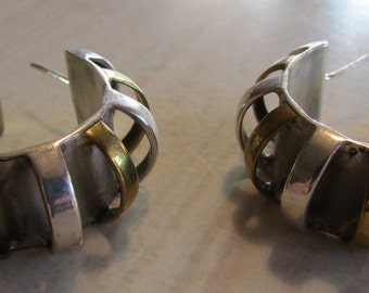 Unusual Sterling Silver and Brass Mexican Hoop Earrings.