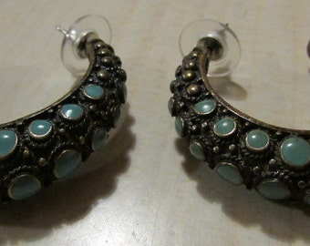 Large Brass and Faux Turquoise Hoop Earrings. Tribal Look.