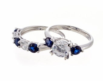 Faux Diamond and Sapphire Engagement and Wedding Ring Set in Sterling Silver
