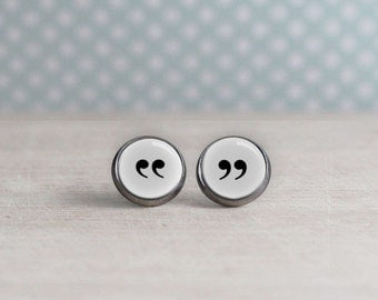 Quotation Mark Earrings - White Background - Reader Earrings - Writer Earrings - Book Lovers (H4005)