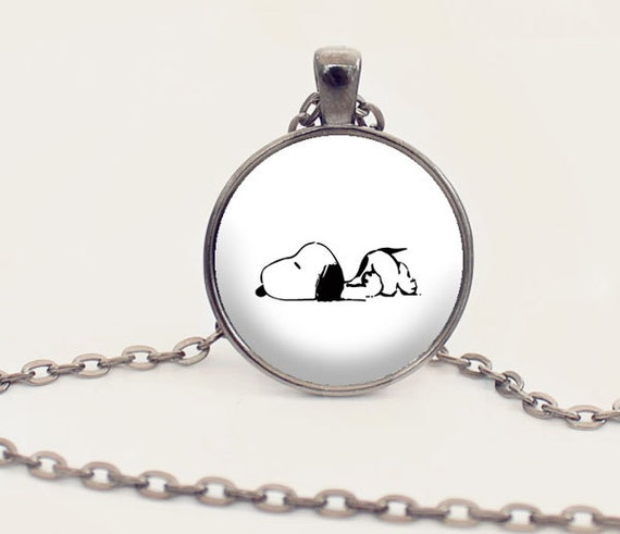 snoopy necklace snoopy gift snoopy jewelry by paperheartdaily