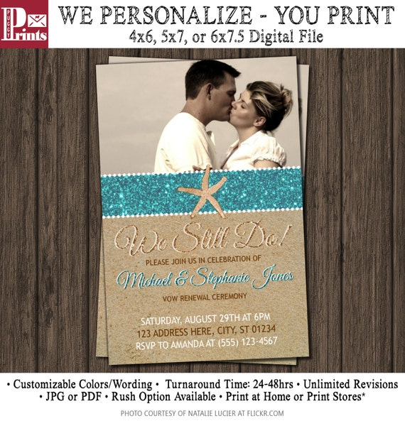 Wedding Vow Renewal Invitations: Beach Vow Renewal Invitation Wedding Vow Renewal By