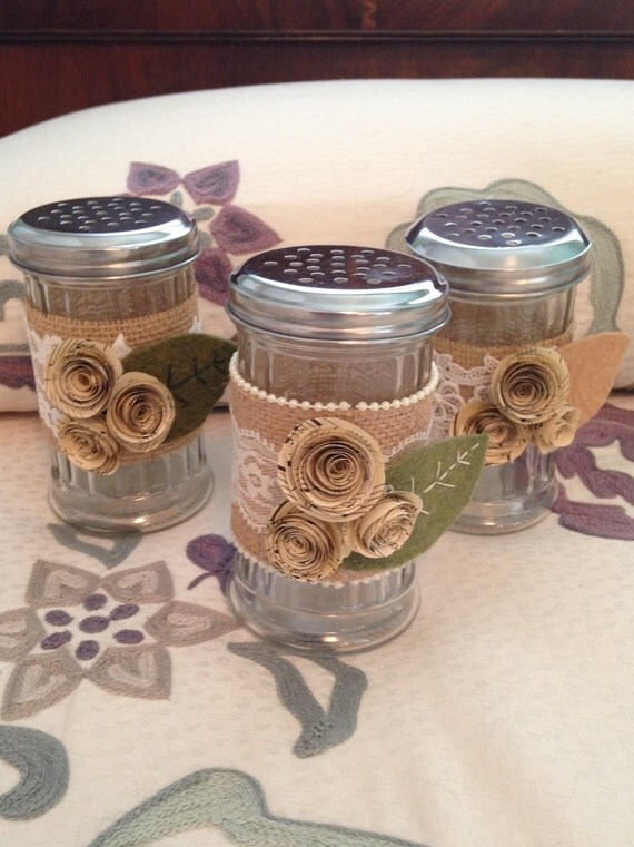 Items similar to shabby chic vase with burlap lace and for Boite shabby chic