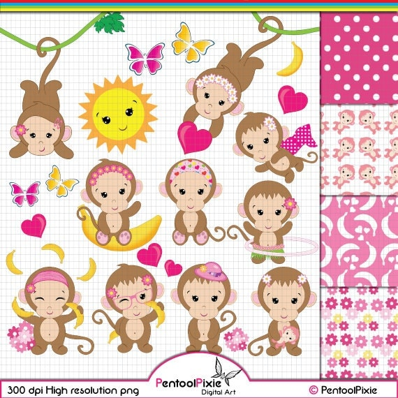 Monkey Clipart Monkey Girl clipart Cute Monkey clipart Baby