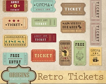 Retro Tickets Clipart - Vintage Show, Circus, Cinema, Theatre, Movie and Entertainment Clip Art