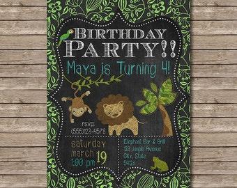 Chalkboard Jungle Safari Birthday Printable Birthday Party Invitation - Customized Digital File