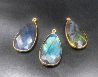 Labradorite pear Connectors Pendants, Bezel Set, Gold Vermeil, ,15x30 mm, 1pec