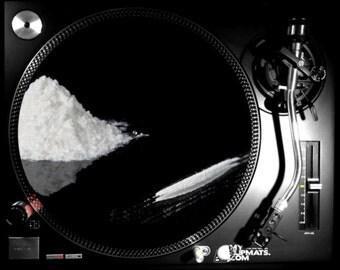 Cocaine Slipmat dj turntable music gifts musicians art record vinyl slip mat gift slipmats creative gramophone coke sniff drugs drug addict