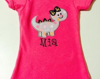 Girly Dinosaur shirt with name