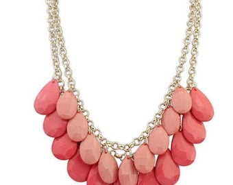 Spring Coral and Pink Multi Strand Layered Bubble Beaded Bib Statement Necklace