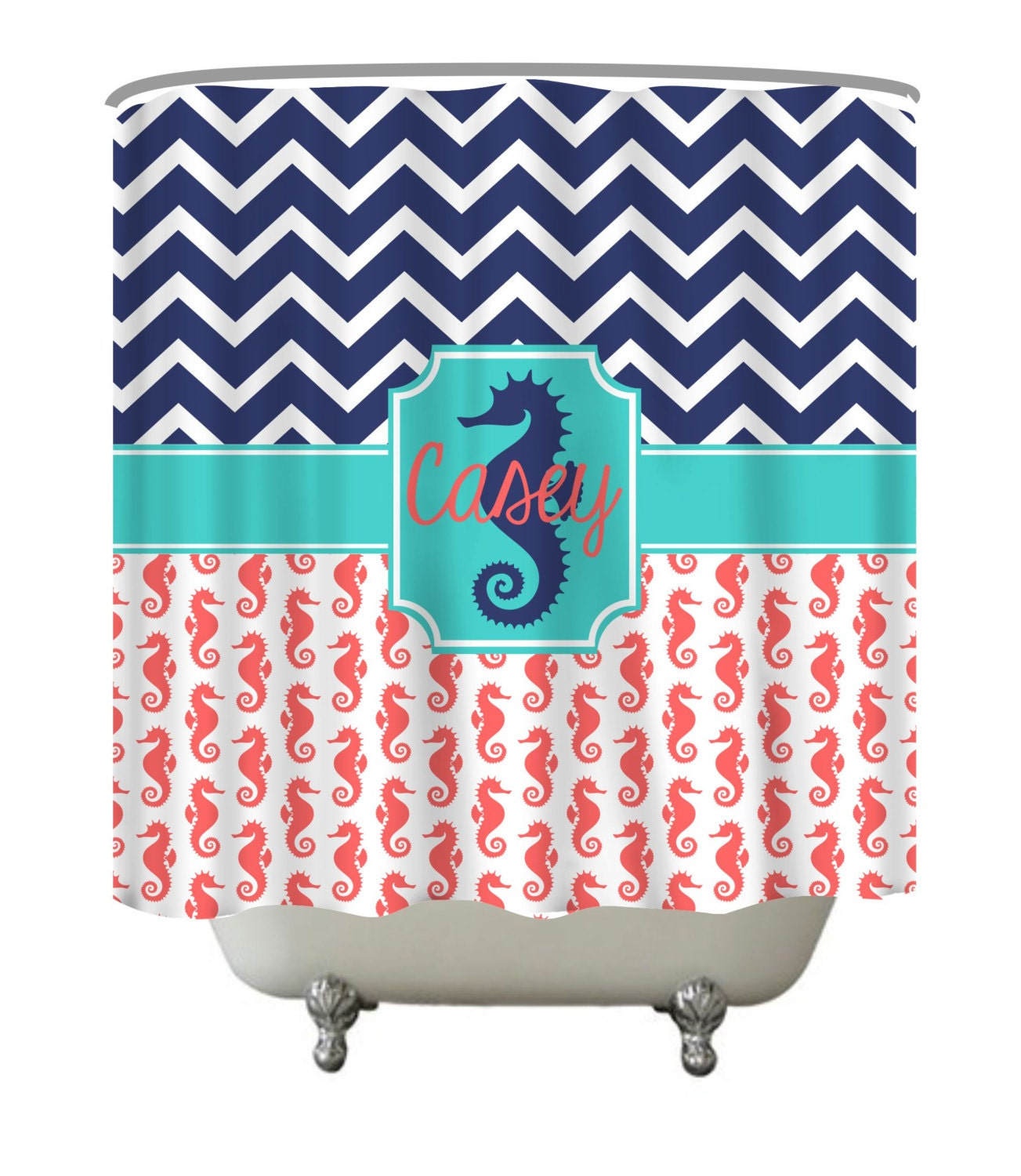 Seahorse Shower Curtain Monogram Shower By Thecustomstudioshop