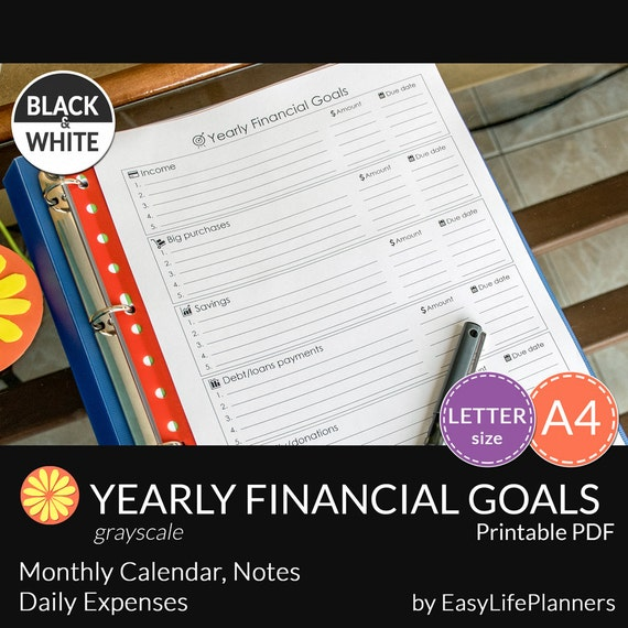 Financial Goals: YEARLY FINANCIAL GOALS Black And White Pdf. A4 By