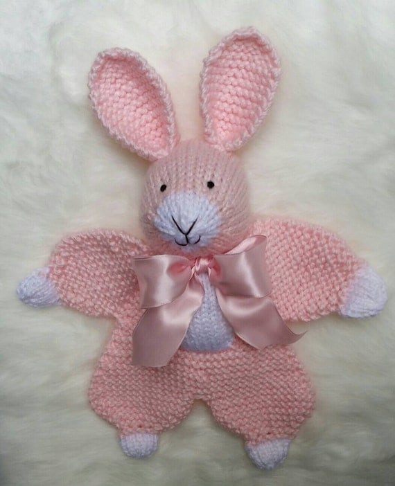 Knit Bunny Rabbit Lovey Blanket Handmade by TheSugarbunnyShop