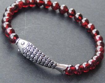 Men's Women Garnet Sterling Silver Bracelet AAA Gemstone 925 Fish Charm DiyNotion Handmade BR476
