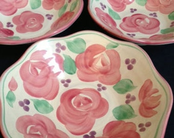 """BLOCK Molde Portugal """"Rosa"""" Pattern Bowls, Set of 3, White w/Pink Roses"""