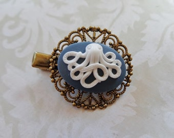 Clip White On Blue Octopus Alligator Hair Clip