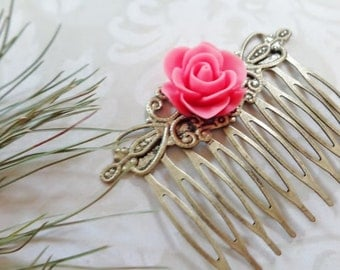 Coral Rose And Brass Hair Comb