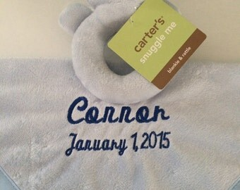 Baby Boy Carter's Blue Bear Security Blanket Blanky - Personalized