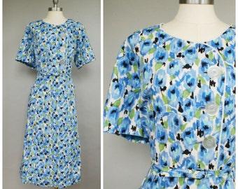 Rain Bloom Dress • 1950s Cotton Day Dress