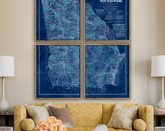 "Map of Georgia 1864, Vintage Georgia map, 5 sizes up to 48x60"" in 1 or 4 parts, GA map, Georgia, also in blue - Limited Edition of 100"