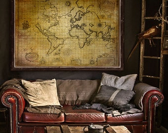 """Pirate map of the World 1657 Old nautical chart up to 54x36"""" (140x90 cm) Grunge world map, ships, beasts - Limited Edition - Print 95 of 100"""