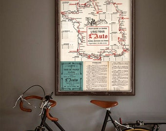 "Tour de France map 1914 vintage map poster of Tour de France 20x27"" (50x70 cm) Cycling map for Ikea frames - Limited Edition - Print 20"