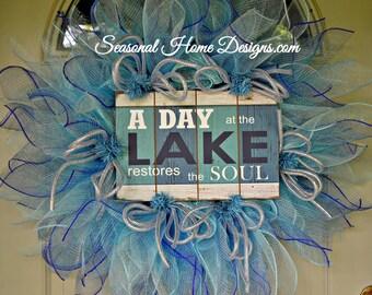 Lake House Wreath, Deco Mesh Wreath, Nautical Wreath, Summer Door Wreath, Seasonal Wreath, Door Wreath