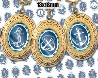 Digital Collage Sheet Nautical Retro Anchors 13x18mm Printable Oval Download for pendants magnets Cabochons jewelry