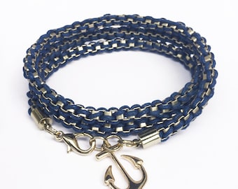 Anchor Bracelet Nautical Jewelry Anchor Charm Navy Gold Box Chain Wrap Bracelet Ocean Jewelry Boating Gifts