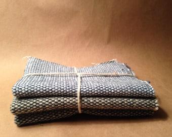 BLUE Wool Tweed Squares