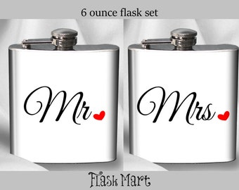 Mr. & Mrs. 6 oz. Flask Set - Bride and Groom Gift - Wedding Gift - 6 oz. - Stainless Steel - Liquor - Alcohol