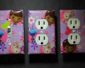 Doc McStuffins 3 piece Light Switch Plate and Socket Cover set girls boys childs room home decor bedroom purple Disney Jr Mcstuffens