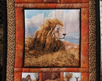 African Animal Quilted Wallhanging