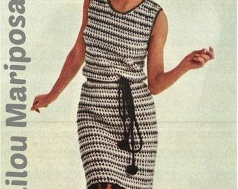 Crochet Pattern Vintage 60s Crochet Dress Pattern-Crochet POMPON Dress Pattern-Bohemian Clothing-INSTANT DOWNLOAD