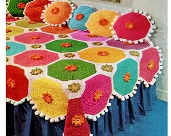 CROCHET BEDSPREAD PATTERN Vintage 70s Crochet Bed Cover Pattern Crochet Bedskirt Pattern Bohemian Home Decor
