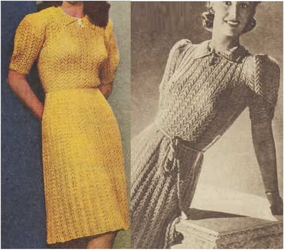 Knitting Dress Pattern : Knitting Dress Pattern Vintage 40s Knitted Frock Dress Pattern