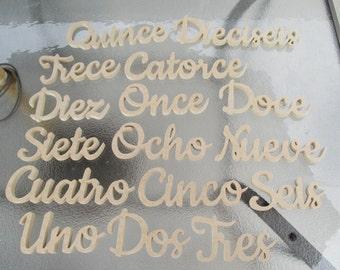 Spanish script cursive table number set 1-16 free standing CNC cut wedding quinceañeras reception
